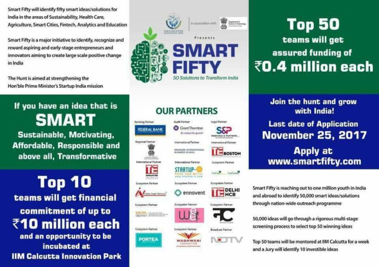 Banner of Smart 50 contest launched by DST and IIM Kolkata